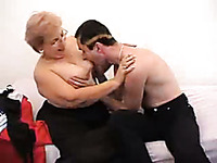 Fat blonde granny from Russia jumps on my big young cock