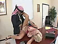 Arab boss fucks out busty blonde secretary right in his office