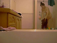 My hot and sexy girlfriend in the shower naked on the hidden cam