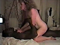 Retro blonde mom moans crazily while riding my buddy's BBC