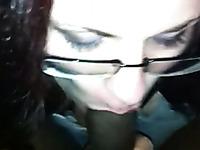 Dark-haired prostitute in glasses works on my BBC in POV clip