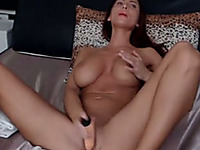 Smoking hot white milf babe with fake tits double penetrates herself