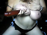 Busty brunette milf shows her gagging reflexes on webcam
