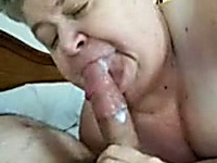 Cock crazed granny sucks my big cock like a real whore