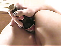 Jaw-dropping solo with a blonde cutie fucking her ass with a bottle