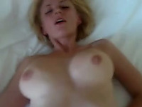 My blonde wife's big tits jiggle while I drill her pussy deep