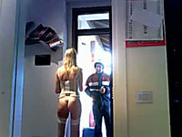 Pizza delivery boy checks out my blond wife's curves in lingerie