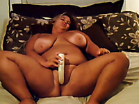 Jar dropping BBW busty wife Ash pets her fat pussy with huge dildo