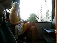 Stroking my cock next to gorgeous blondie in public bus