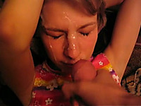Cute Russian girlfriend obediently takes a load on her face