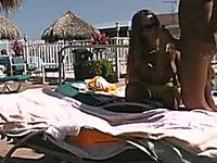 Amateur romantic couple making love on nudist beach