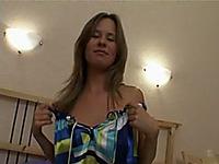 Admirable blonde beauty licks her own boobies in bedroom