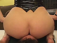 Big boobed in latex corset sits on dude's face and gets her twat licked