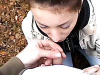 Cute Russian girl outdoors feels hungry for a dick