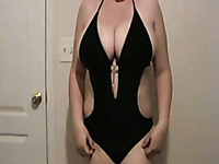 Plump BBW busty wife teases with her amazing curves while I jerk off