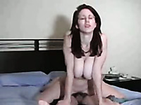 Screaming orgasms of my brunette busty wife in cowgirl pose