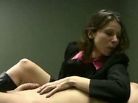 Mean brunette secretary gives me awesome handjob in my office