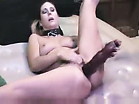 Monster dildo makes my curvy wife squirt like a fountain