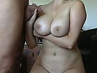 Beautiful natural big boobs sprinkled with cum on webcam