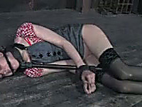 Bound hottie gets face-fucked and tortured in BDSM clip