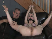 Lewd blonde gets her holes toyed to orgasm in BDSM clip