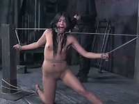 Tied up brunette Jade gets face-fucked in amazing BDSM video