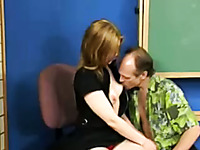 Lusty babe with pale skin sucks old hard dick of a guy who licks her panties