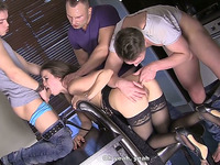 Nasty angel with great shapes is double penetrated in gang bang