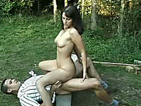 Bosomy brunette pippin rides hard dick outdoors and screams with joy
