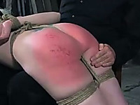 Tight ass of dissolute blonde bitch turned red from spanks