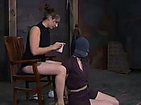 Insanely horny mistress puts a mask over her slave's head