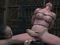 Slutty redhead with huge tits gets her pussy finger fucked hard