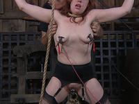 Unthinkably horny chick gets her pussy stretched out in this BDSM scene