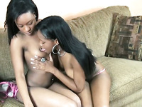 Lewd ebony lesbians are rimming each other's pussies using their dildo