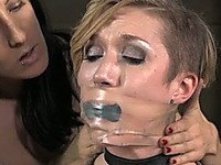 Bounded blonde lady with mind blowing body is restrained by her mistress