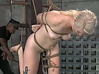Slender blonde bitch with pale skin is suspended and toyed