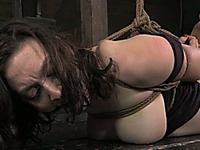 Bounded brunette bitch with great rack is punished by her mentor