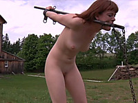 Redhead chick bounded outdoors walks behind her master's car
