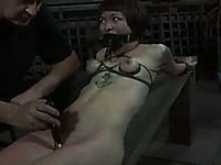 Threads all over girl's body don't let her move while getting her pussy toyed