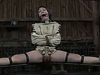Salacious brunette chick with a ring gag in her mouth is tired of punishment