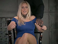 Mega busty blonde milf bounded with ropes deep throats hard cock