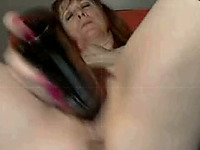 Fifty Five yo Redhead Granny Fucks Her Cunt with a Bottle on Cam