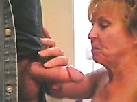 Horny granny wants to fuck in the bathroom on the counter