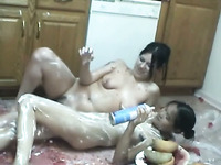 Homemade food fetish lesbian scene with two amateur brunettes