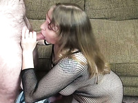Chubby milf in fishnet bodystocking sucks and rides a hard cock