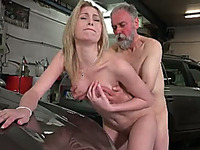 Blonde slut enjoys rear banging at a car park with an old dude