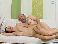 Well-endowed hussy allows an old man finger and fuck her ass