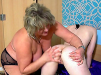 Bodacious granny with a phat ass fucks her lesbian friend with a dildo