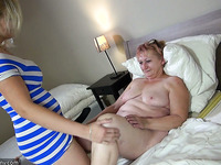 Four eyed granny is having fun with her pigtailed lesbian GF