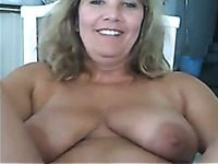 Mature blonde housewife flashing her hairy old pussy on cam